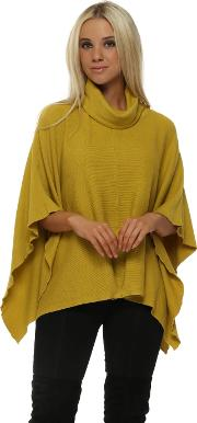 Lime Ribbed Roll Neck Poncho