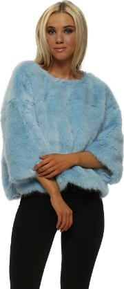 Luxury Baby Blue Faux Fur Short Jumper
