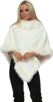 Luxury Cream Faux Fur Poncho