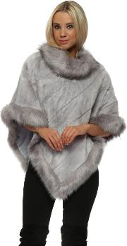 Luxury Dove Grey Faux Fur Poncho
