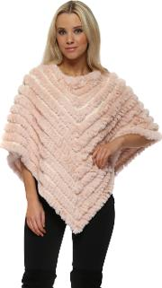 Luxury Knitted Pink Faux Fur Poncho