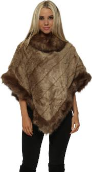 Luxury Mocha Faux Fur Poncho