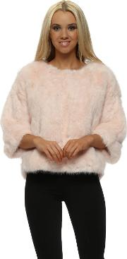 Luxury Pink Faux Fur Short Jumper