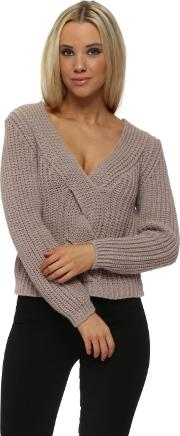 Dusky Pink Cable Cropped Knit Jumper