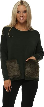 Khaki Green Cosy Jumper With Faux Fur Pockets