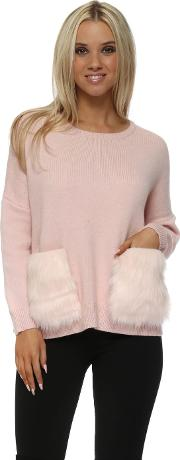 Pink Cosy Jumper With Faux Fur Pockets
