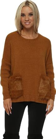 Tan Cosy Jumper With Faux Fur Pockets