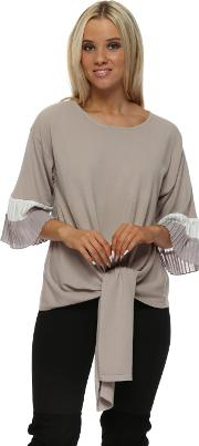 Beige Two Tone Frill Tie Front Jumper