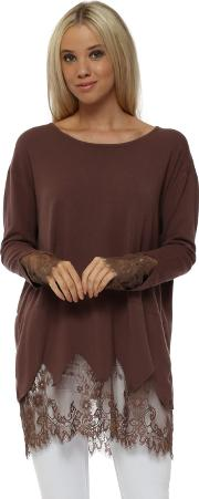Brown Lace Detail Long Length Slouch Jumper