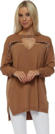 Camel Safety Pin Oversized Jumper