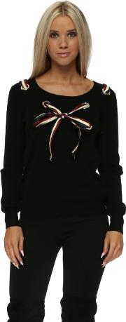 French Bow Loop Front Black Jumper
