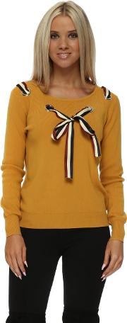 French Bow Loop Front Mustard Jumper