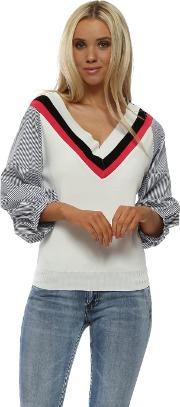 Ivory Blue Striped Ruched Sleeve Jumper