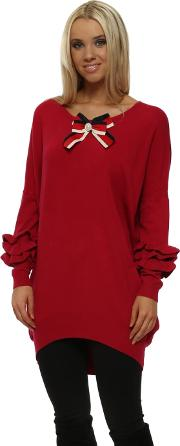 Red French Ribbon Bow Ruffle Sleeve Jumper