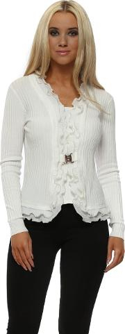 White Ribbed Pearl Trimmed Two In One Cardigan
