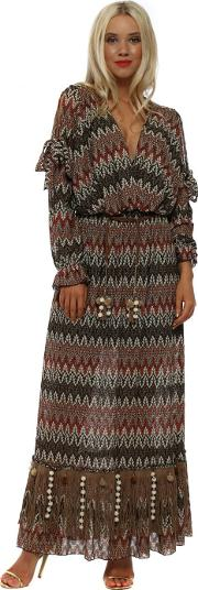 Brown Missi Print Long Sleeve Maxi Dress
