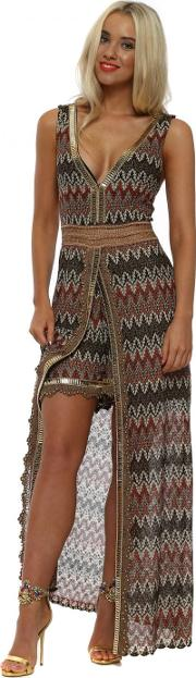 Brown Missi Print Maxi Dress With Shorts