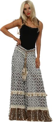 Frosted White Swirl Palazzo Trousers