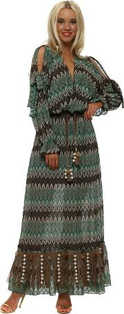Green Missi Print Long Sleeve Maxi Dress