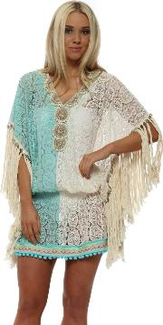 Miss Coco Aqua Cream Lace Kaftan Top