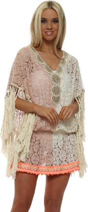 Miss Coco Pink Cream Lace Kaftan Top