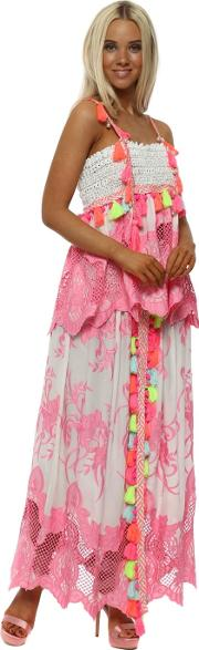Pink Lace Neon Tassle Split Front Maxi Skirt Top