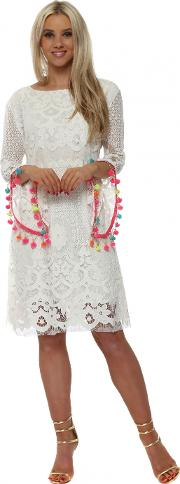 Scoop Back Rainbow Tassels Chains Dress