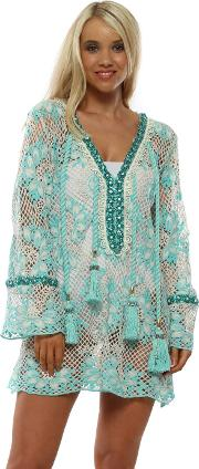 Turquoise Crochet Crystal Daisy Tunic Top