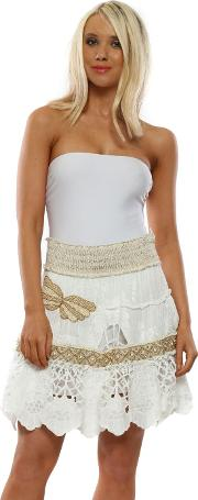 White Floral Embroidered Butterfly Mini Skirt
