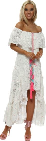 White Milan Daisy Bardot Milan Maxi Dress