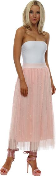 Pink Tulle Pearl Embellished Maxi Skirt