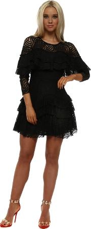 Black Lace Layered Mini Dress