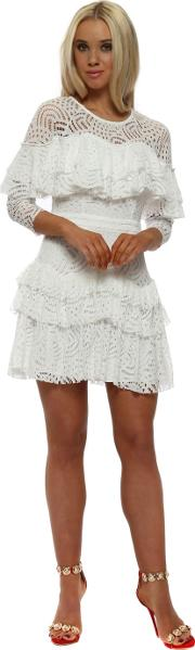 White Lace Layered Mini Dress