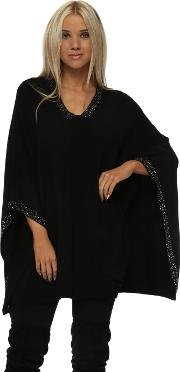 Black Studded Knitted Poncho
