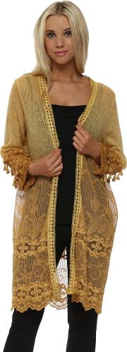 Fluffy Mustard Long Lace Cardigan