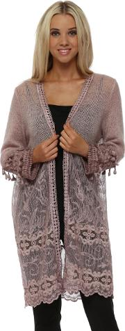 Fluffy Pink Lace Tassel Long Cardigan