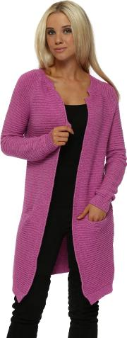 Magenta Ribbed Long Line Cardigan