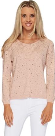 Pink Button Front Long Sleeved Cardigan With Crystals