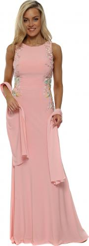 Pink Floral Embroidered Backless Evening Dress