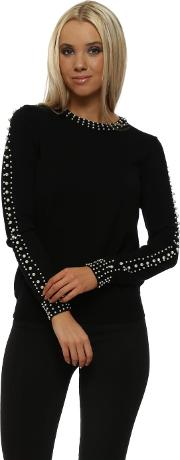 Black Contrary Pearl Trimmed Jumper