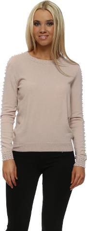 Nude Pink Contrary Pearl Trimmed Jumper