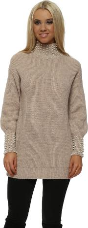 Nude Pink Pearl Polo Cuffs Jumper