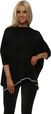 Black Ribbed Knit Chainmail Trimmed Poncho
