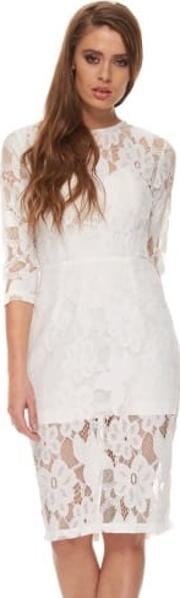 Georgia Dress In White Lace With Structured Bodice