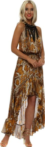 Amber Snakeskin Halterneck High Low Dress