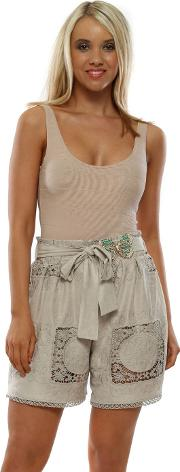 Beige Lace High Waist Suede Shorts