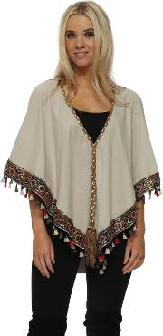 Beige Suede Multi Coloured Tassel Boho Trim Short Poncho