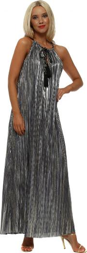 Pewter Foil Pleated Maxi Dress