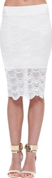 Victorian Lace Pencil Skirt In Dove