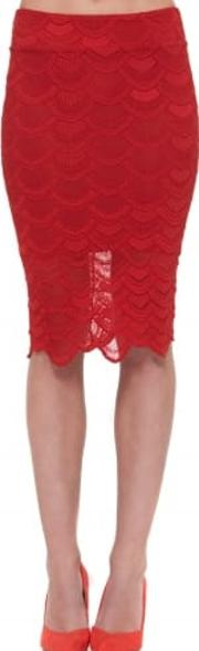 Victorian Lace Pencil Skirt In Lipstick